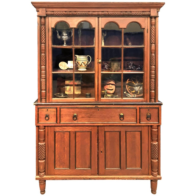 Flat Wall Cupboard Two-Piece Red Paint Hackensack New Jersey, circa 1820
