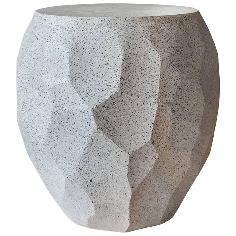 Cast Resin 'Facet' Side Table, Natural Stone Finish by Zachary A. Design For Sale