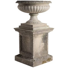 Large Cast Stone Urn with Pedestal, circa 1950