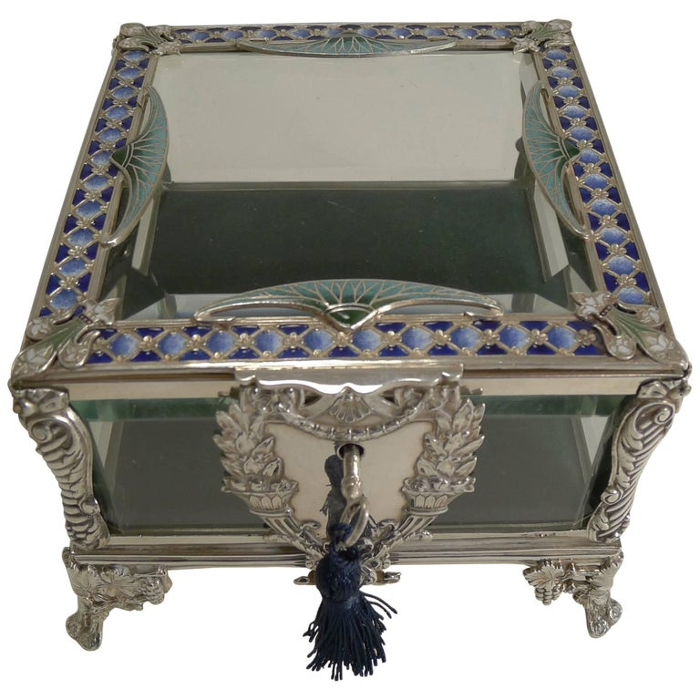 e9b4125a41f1 French Art Nouveau Silver Plate and Enamel Jewelry Box, circa 1900 For Sale
