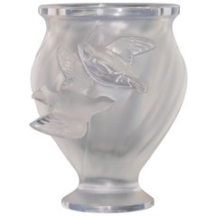 1950s Lalique Small French Crystal Glass Rosine Vase with Birds in Flight