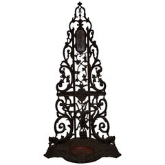 French Cast Iron Corner Portmanteau, Hall Tree with a Hunt Motif