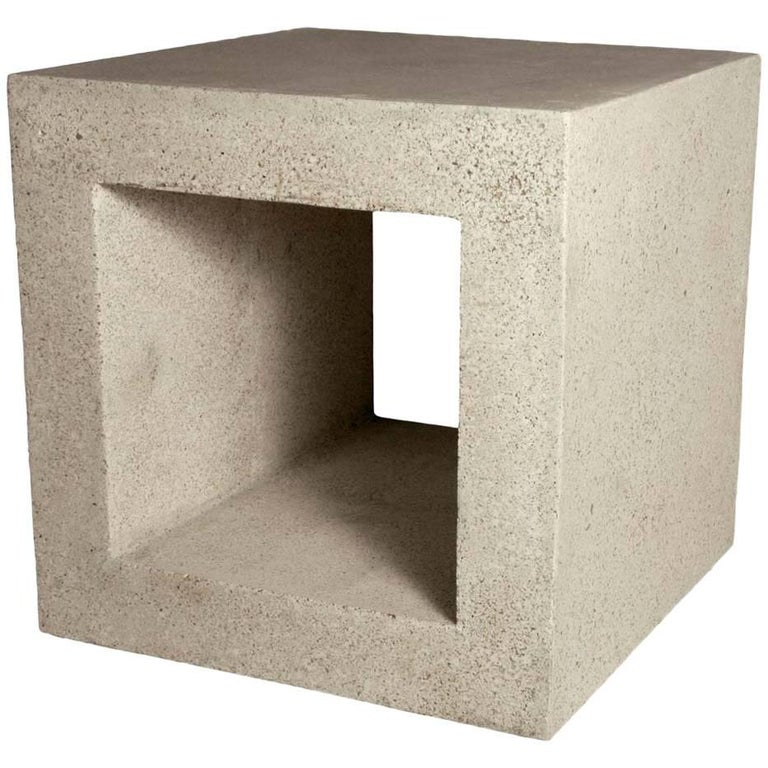 Cast Resin 'Ray' Side Table, Natural Stone Finish by Zachary A. Design For Sale