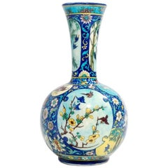 Theodore Deck, Japonisme Polychromed Faience Baluster Vase