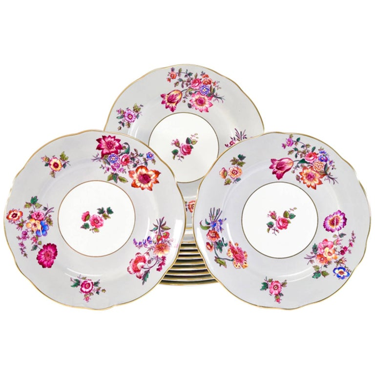 12 Coalport Grey and Polychrome Enamel Floral Shaped Rim Dinner Service Plates