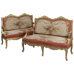Pair of Louis XV Style Giltwood Canapés Upholstered in Aubusson Tapestry
