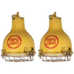 Pair of Yellow Painted Brass and Steel Nautical Pendant Lights