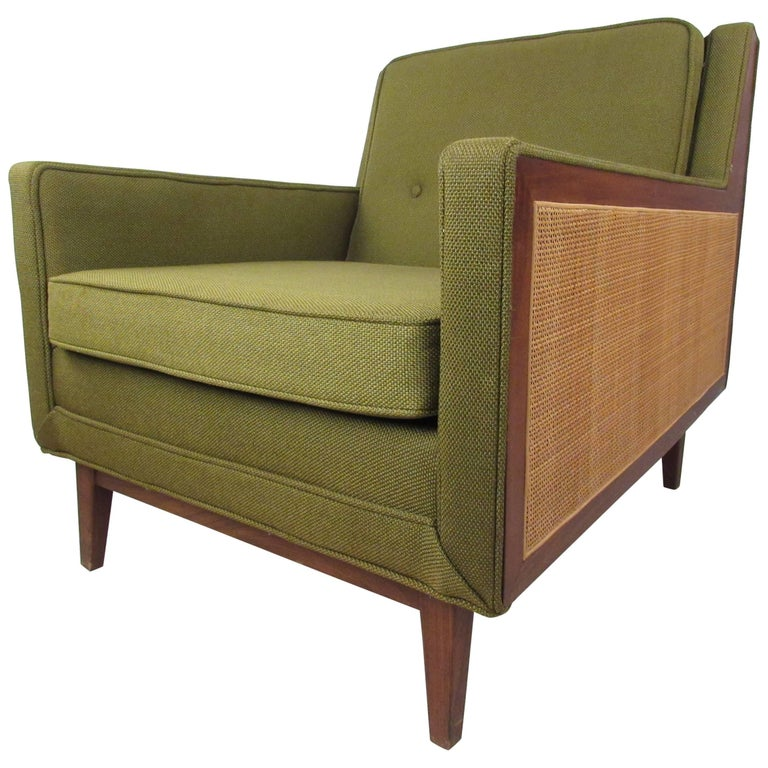 Mid-Century Modern Upholstery and Cane Armchair