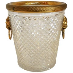 Elegant French Baccarat Lion Handle Dore Bronze Cut Crystal Ormolu Ice Bucket