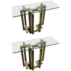 Pair of Console Table Brass and Chrome by Belgo Chrome. Belgium, 1980s