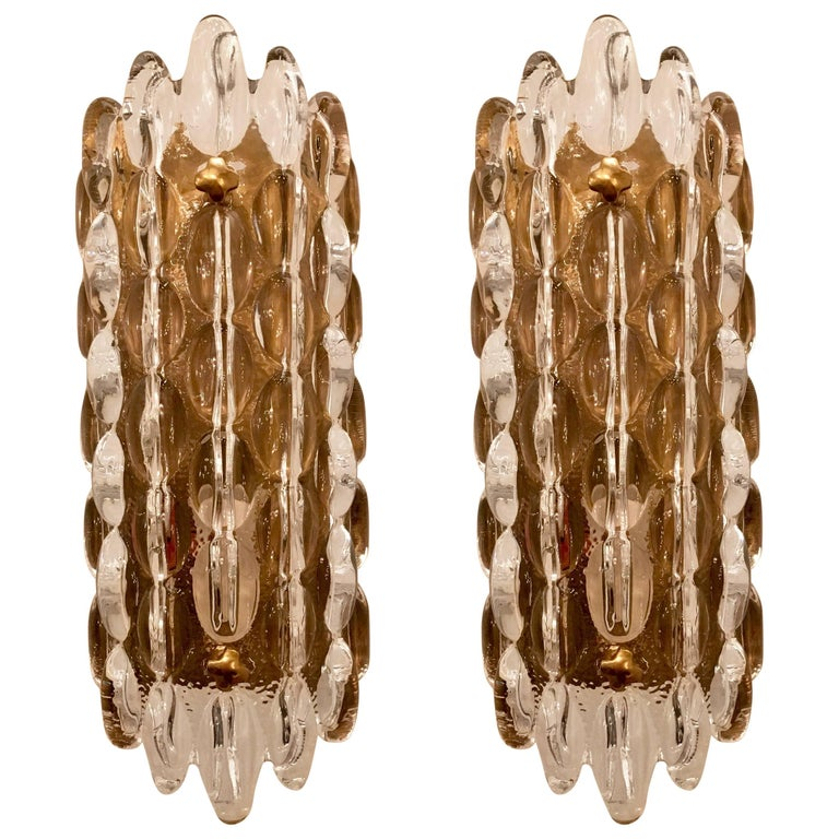 Pair of Orrefors Crystal Bubble Wall Lights 1950s Carl Fagerlund Swedish For Sale