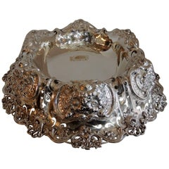 Monumental Sterling Silver Whiting Pierced Blown Out Flower Centerpiece Bowl