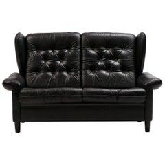 Danish Black Leather Sofa