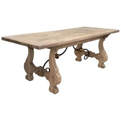 19th Century Stripped Oak Spanish Dining Table with Hand-Forged Iron Stretchers