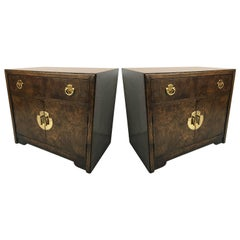 Pair of Burl Wood and Brass Bedside Tables