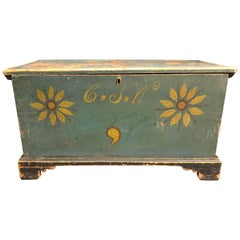 Blanket Chest Diminutive Decorated Blue with Sunflowers Rare Delaware circa 1820