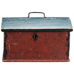 19th Century Swedish Folk Art Box with Original Paint