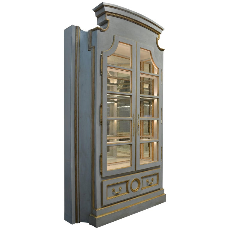 Custom Painted Gustavian Style Display Cabinet