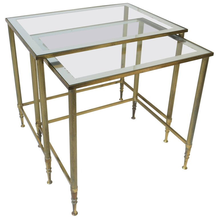 Midcentury italian brass and glass nesting tables for sale at 1stdibs midcentury italian brass and glass nesting tables for sale watchthetrailerfo