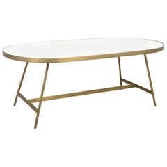 Mid-Century Modern Oval Brushed Brass Coffee Table with Vanilla Concrete Top