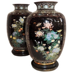 Wonderful Pair of Fine Japanese Meiji Cloisonne Enameled Vases Urn Form Lamps