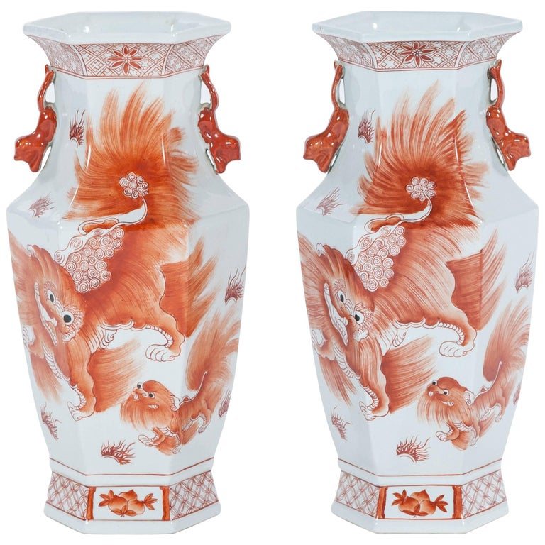 Pair of Vintage Orange and White Chinese Porcelain Vases, Early 20th Century