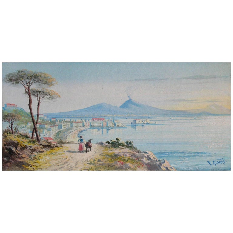 Y. Gianni, Italian the Gulf of Naples, 19th Century  For Sale