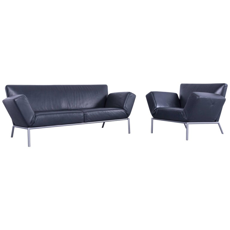 cor designer sofa set anthracite grey leather couch and armchair made in germany at 1stdibs. Black Bedroom Furniture Sets. Home Design Ideas