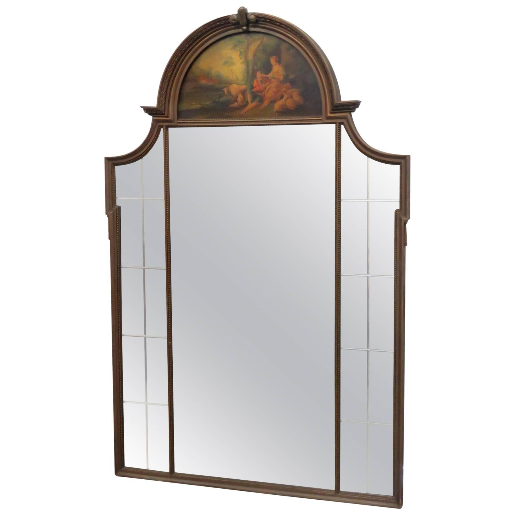 French Louis XV Style Trumeau Mirror with Oil Painting of Pasture Scene