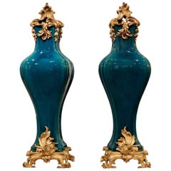 Théodore Deck, Pair of Ormolu-Mounted Blue Persian Enameled Vases