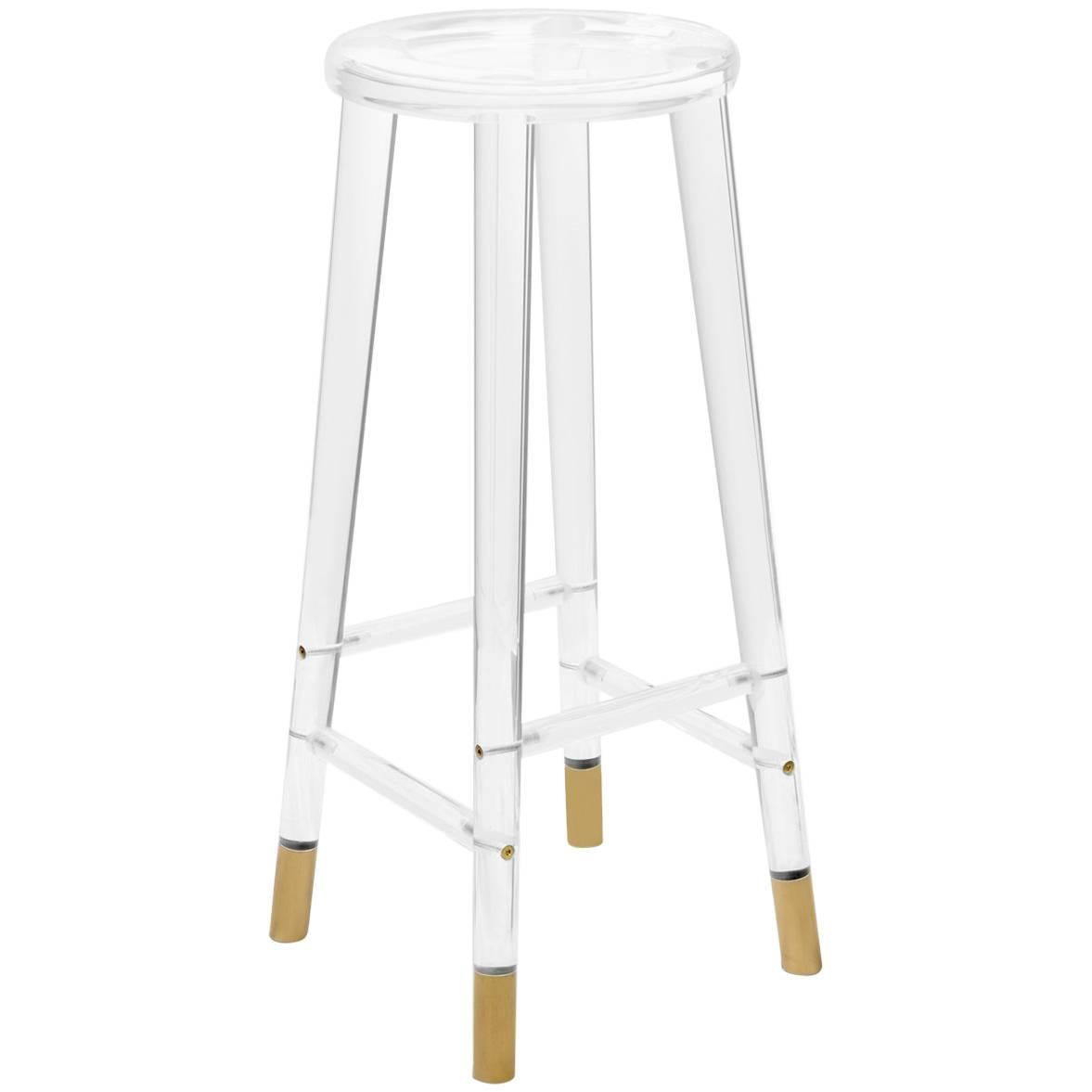 Mid-Century Modern Style Lucite and Brass Sleek and Elegant Bar Stool