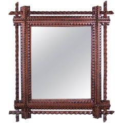 Rustic Tramp Art Mirror, Austria, circa 1890