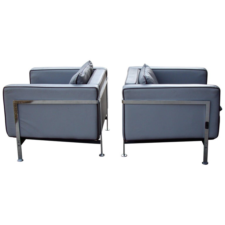 Leather and Chrome Lounge Chairs by Robert Hausmann for Desede, Sweden