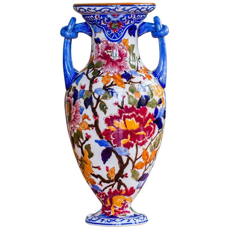 "Gien Faience Vase ""Peonies"", France, circa 1960"