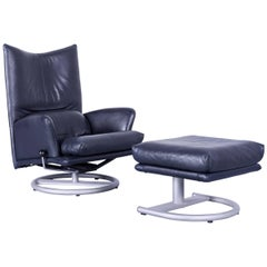 Rolf Benz Designer Armchair Set Night Blue Leather and Footstool One Seat Couch