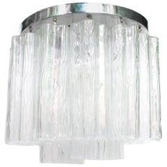 Venini Style Italian Tronchi Flush Mount Chandelier in Clear Textured Glass
