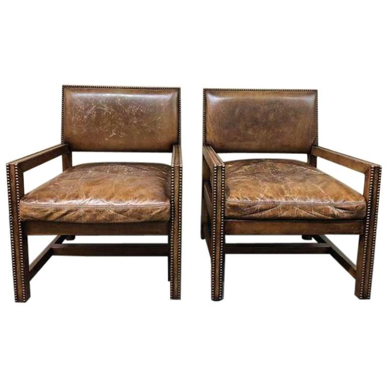 Ralph Lauren Home Distressed Leather Arm Chairs, Pair For Sale