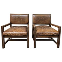 Ralph Lauren Home Distressed Leather Arm Chairs, Pair