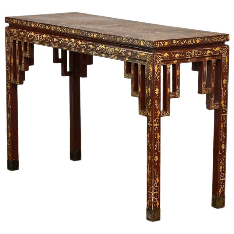 Chinese Qing Lacquered Pigskin Leather Altar Console Table
