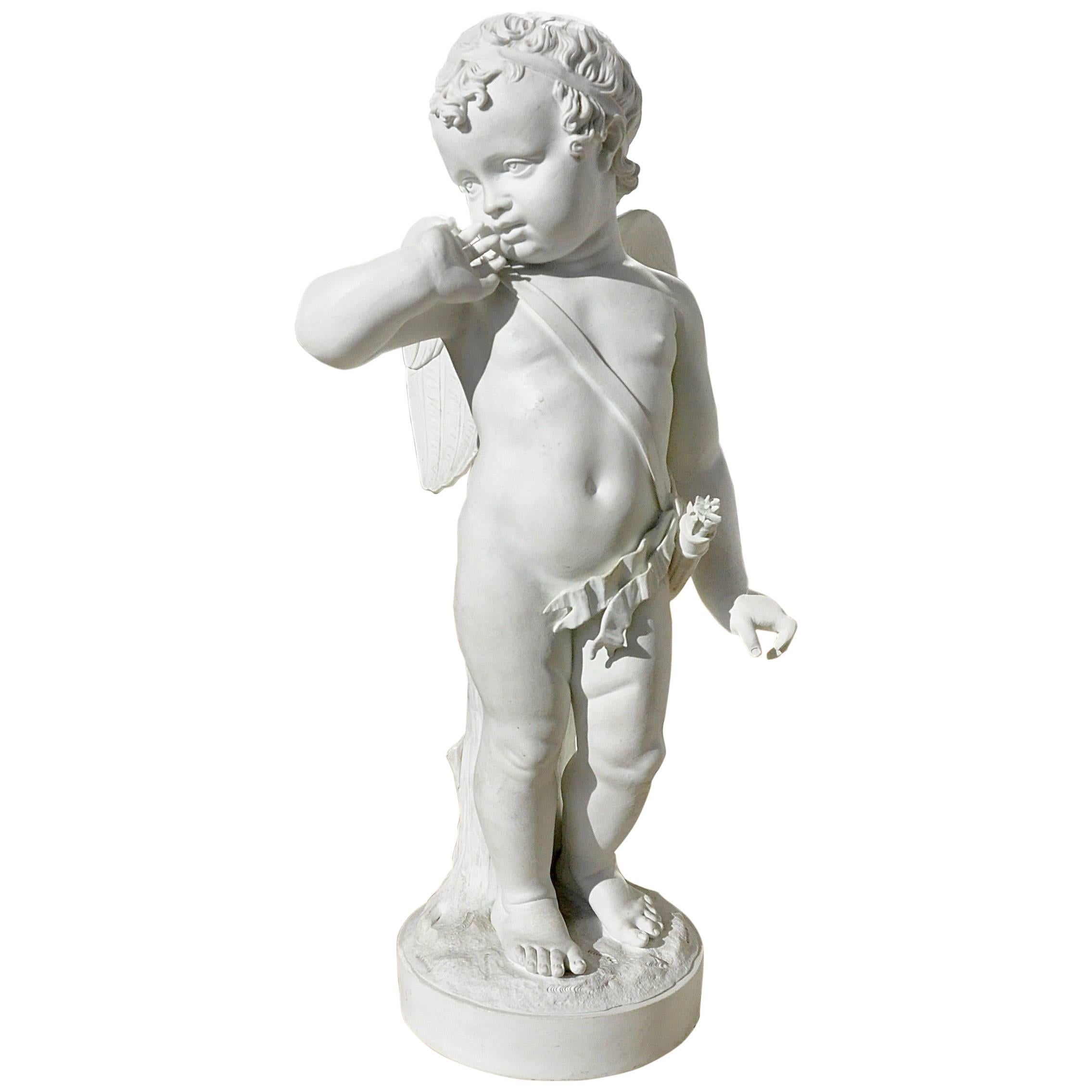 Early 19th Century Bisque Porcelain of Cupid with Arrows