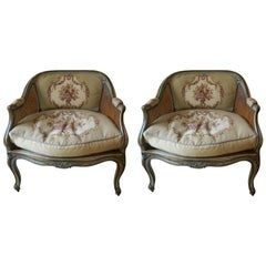 Pair of French Painted Chairs with Caning and Tapestry Backs, Early 20th Century