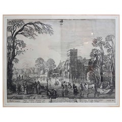 "17th Century Jan Van De Velde Print ""January"" from the Months, 1618"