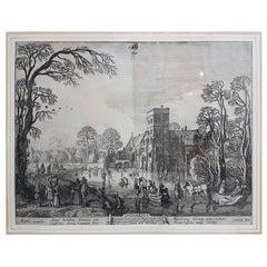 "17th Century Jan Van De Velde Print ""January"" from the Months, 1618"