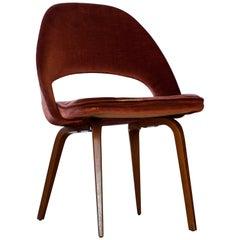 Eero Saarinen for Knoll International, Wood Legs and Velvet Upholstery