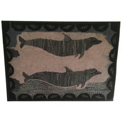 Large Early 20th Century Dolphin Hooked Rug