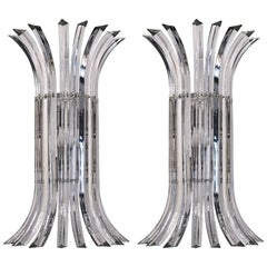 Pair of Tall Eight-Element Clear Murano Glass Triedri Sconces, 1980s