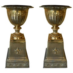 English Pair of Brass Urns on Pedestals, Late 19th Century