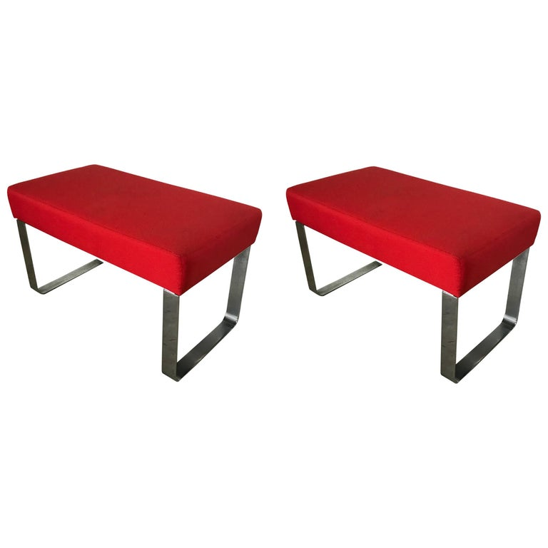Pair of Modern Chrome and Red Benches or Stools Milo Baughman or Pace Style
