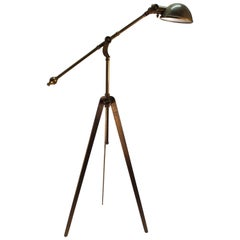 Brass Reading Lamp with Tripod Base