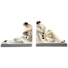 Pair of French Porcelain Art Deco Pierrot and Columbine Book Ends